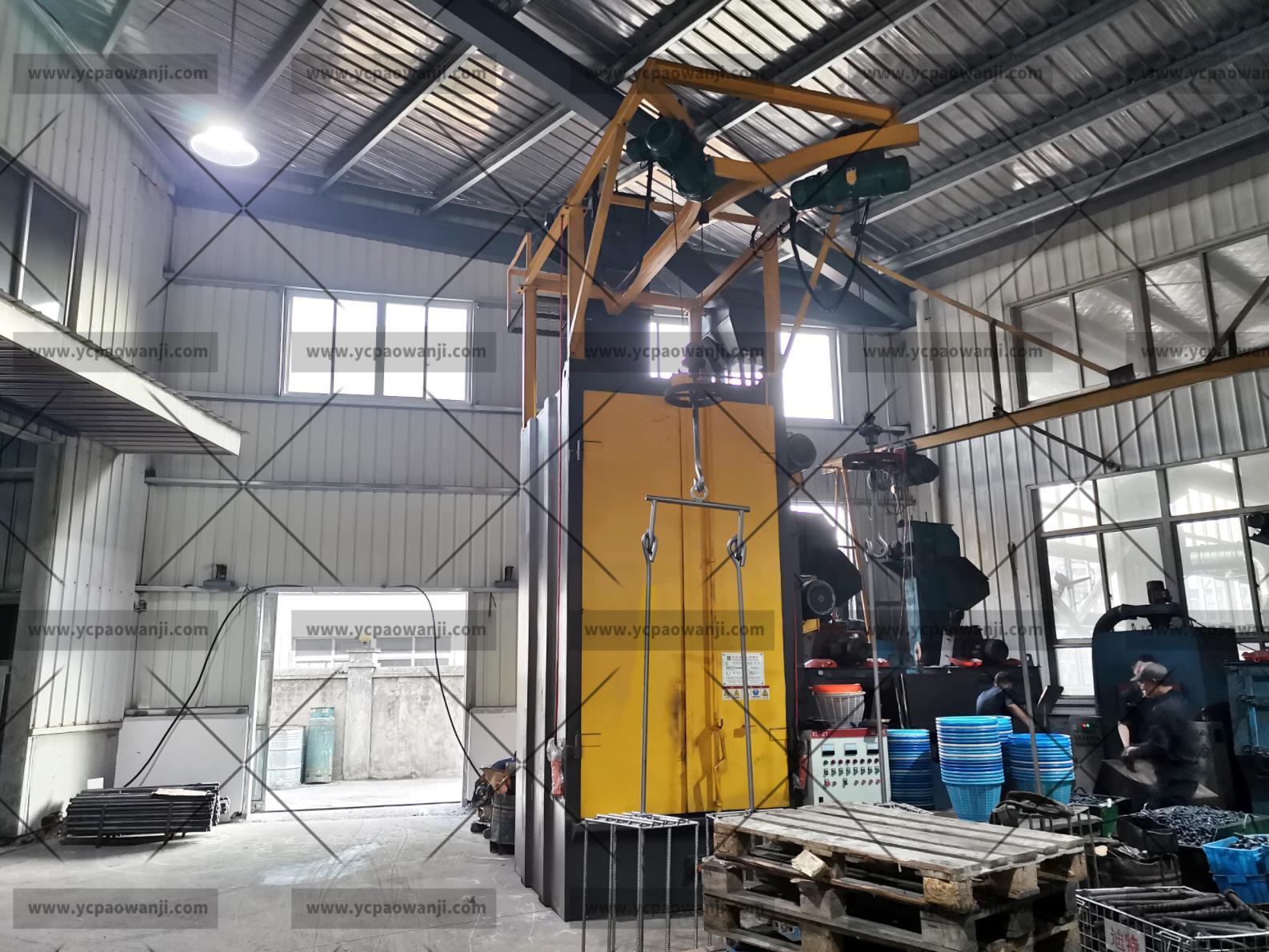 发往湖南长沙Q3710吊钩式抛丸机抛丸除锈去氧化皮效果怎么样?